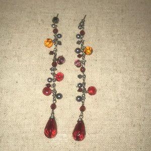 Red Beaded Dangling Earrings